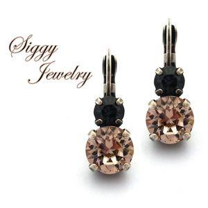 Swarovski® Crystal Vintage Rose Dark Gray Earrings